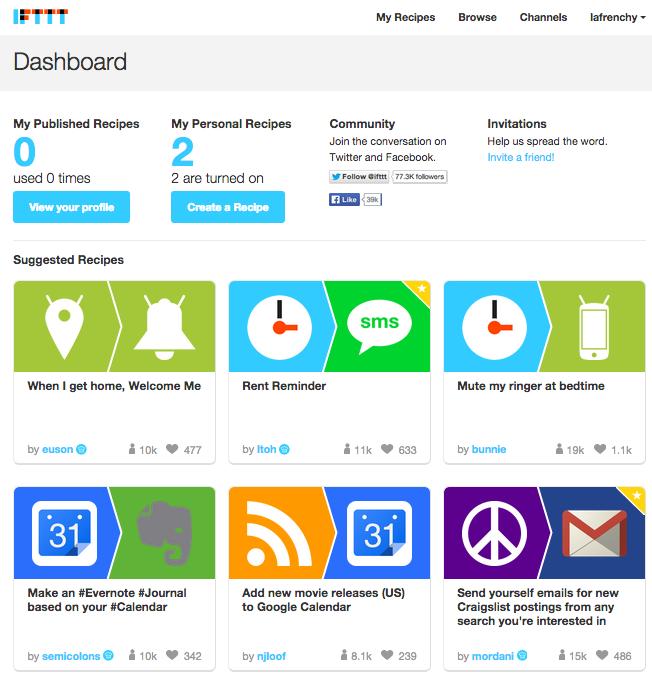 Homepage IFTTT