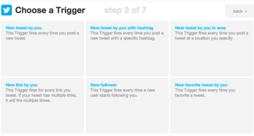 Ecran Trigger Twitter IFTTT
