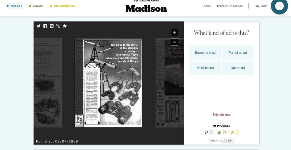 Page du site Madison