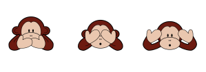 3 wise monkeys illustration