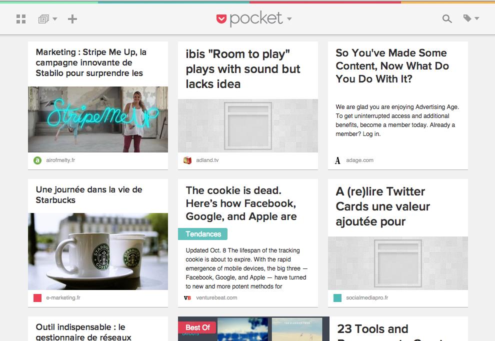 Ecran Pocket version Desktop