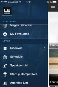 ecran menu de l'app
