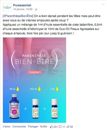 Post Facebook Puressentiel