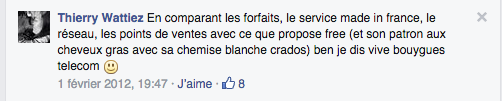 Commentaires page Facebook 2012