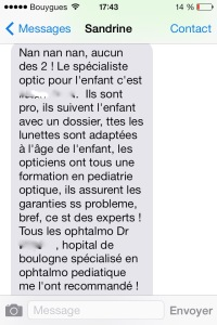 SMS opticien