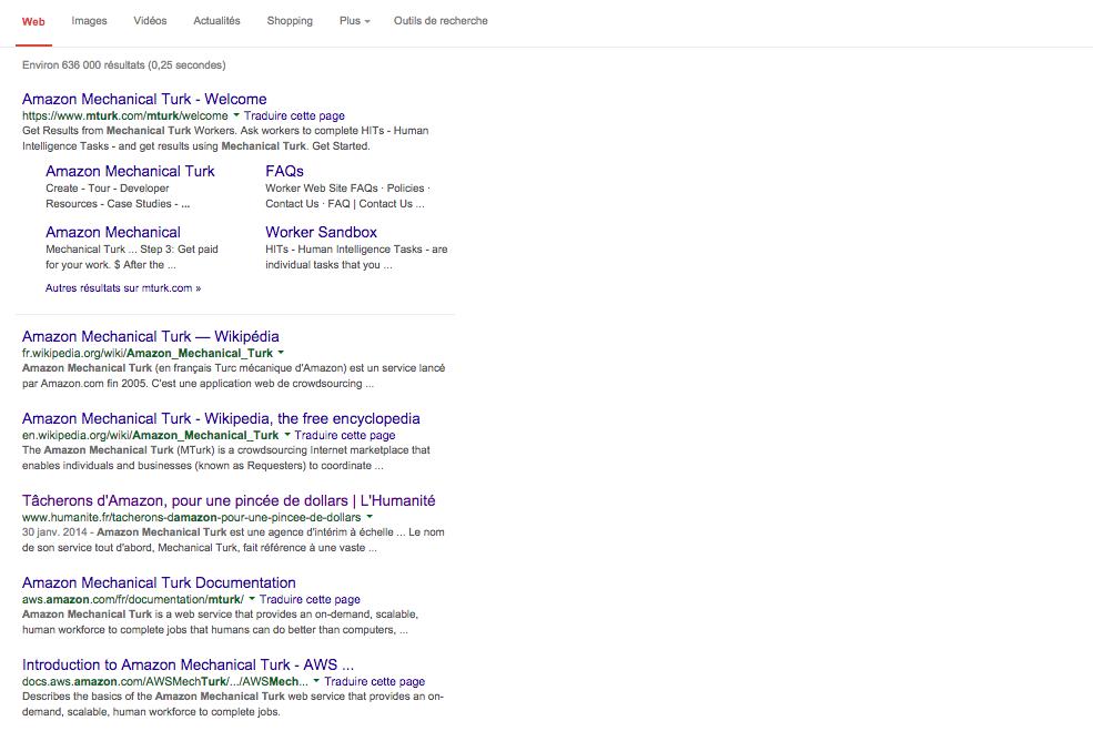 Première page Google Amazon Mechanical Turk