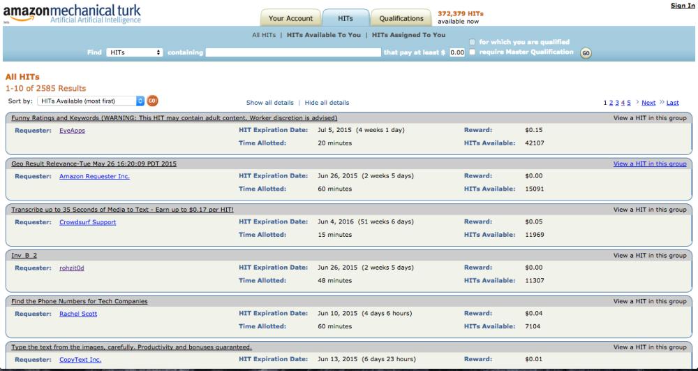 Homepage Amazon Mechanical Turk