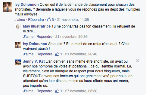 Commentaires Facebook Golden Blog Awards
