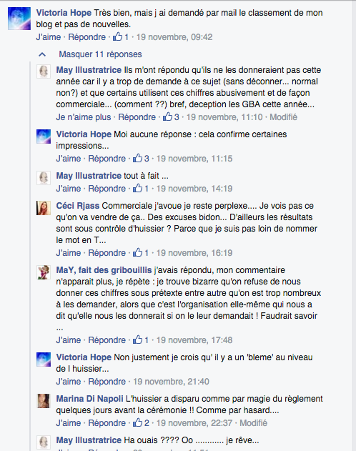 Commentaires FaceBook Golden Blog Awards 2