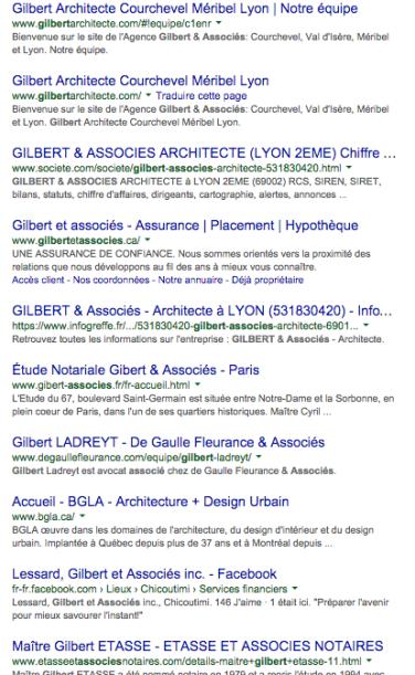 Résultats recherche Gilbert associés