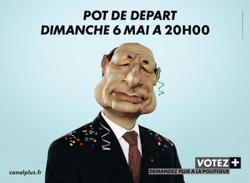 Affiche Pot de Départ Canal + Chirac élections