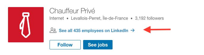 Page Linkedin Chauffeur Privé